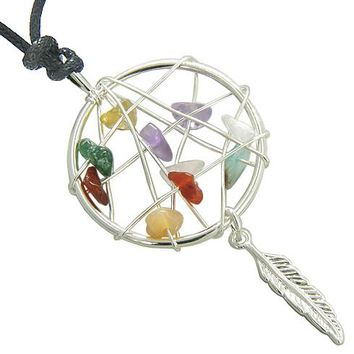 Brazilian Lucky Multi Crystals Native Dream Catcher Gemstones Amulet Pendant on Adjustable Necklace