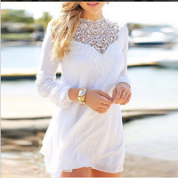 Mosaic Lace White Long Sleeve One Piece Dress = 5839435137