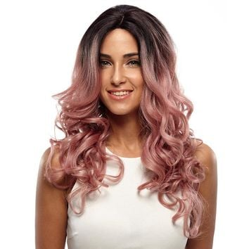 Lace Front Wig Fiber Loose Wave Synthetic Curly Hair For Women