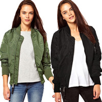 Fashion Womens Slim Biker Coat Zipper Long Sleeve Casual Jacket Trench Outerwear