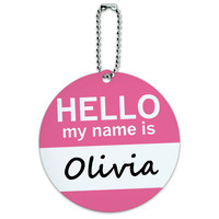 Olivia Hello My Name Is Round ID Card Luggage Tag