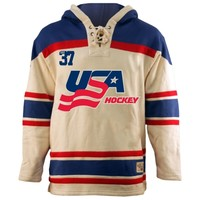 Old Time Hockey USA Hockey 2014 Winter Olympics Home Lace Pullover Hoodie Sweatshirt - Cream