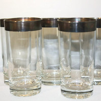 Silver Rimmed Cocktail Glasses Set of Five, Mid Century Mod Highball Tumbler