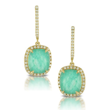 Ben Garelick Clear Faceted Quartz Over Amazonite Halo Drop Diamond Earrings