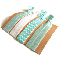 Elastic Hair Ties Aqua and White Chevron Yoga Hair by MadebyMegToo