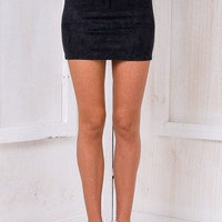 Suede Panel Mini Skirt - Black - Stelly