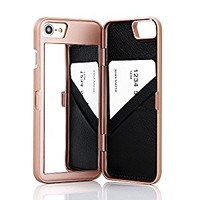 "iPhone 7 Case,Wetben Hidden Back Mirror Wallet Case with Stand Feature and Card Holder for Apple iPhone 7 , 4.7"" (Rose Gold)"