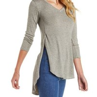 Marled Knit High-Low Tee by Charlotte Russe