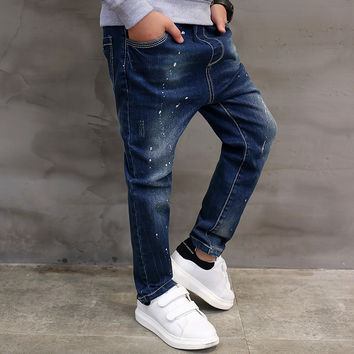 Kids boys blue denim casual jeans strench pull on straight fit elastic waist pants for little big kids