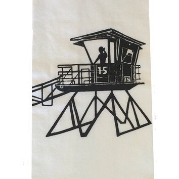 California State Lifeguard Tower Flour Sack Dish Towels-Black