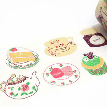 Tea and Cake Extra Wide Washi Tape / Craft Tape