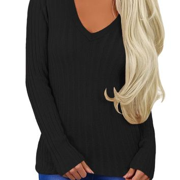 Black Ribbed Choker Neck Sweater