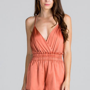 Satin Mini Romper - Rust