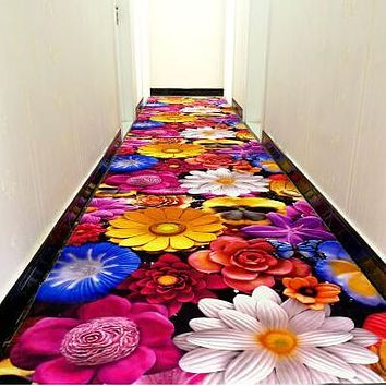 3D creative flower carpet printing Hallway Carpets