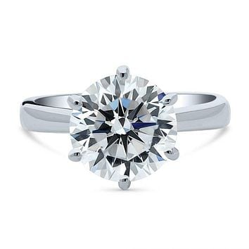 A Perfect 3.9CT Round Cut Solitaire Russian Lab Diamond Engagement Ring