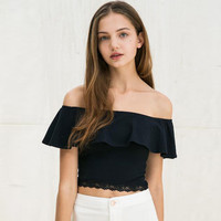 European Style Sexy Slash Neck Black Ruffles T-shirt Women Off Shoulder Top Tee Lace Trim Slim Crop Top Blusas Beach Tube Top U2
