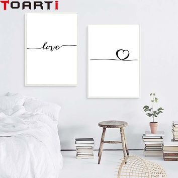 Nordic Poster Heart Picture Black White Canvas Prints Love Poster Wall Art Canvas Painting Heart Posters And Prints Unframed