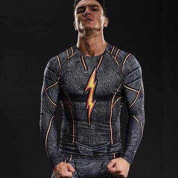 FLASH Compression Shirt Men 3D Printed T-shirts Men Raglan Long Sleeve Cosplay Costume Tops Male fitness body building Clothing