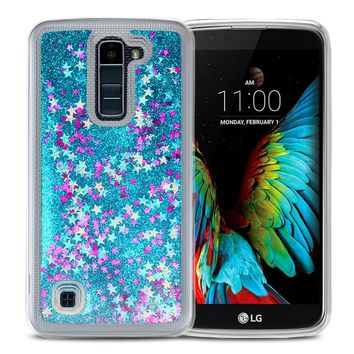 LG K10 Case, ESEEKGO Floating Liquid Case for LG K10 Soft Cover TPU Bumper 3D Bling Case (Blue)