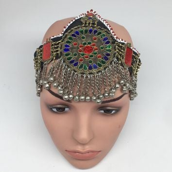 Kuchi Headdress Headpiece Afghan Ethnic Tribal Jingle Alpaca Silver Glass,CK635
