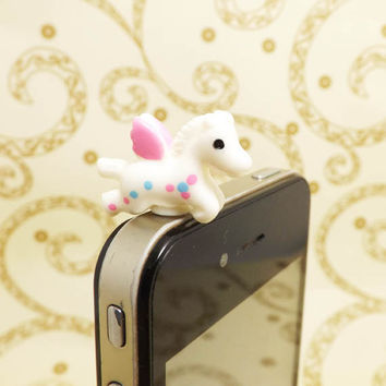Cute White Pegasus Pink Wings Horse Anti Dust Plug 3.5mm Phone Accessory Charm Headphone Jack Earphone Cap iPhone 4 4S 5 iPad HTC Samsung