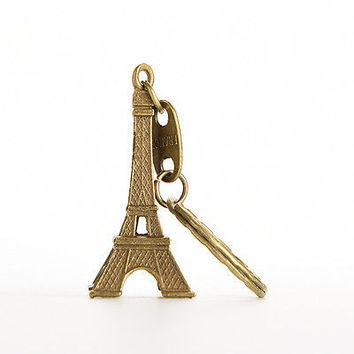 2X Bronze Tone Paris Eiffel Tower Figurine Statue Vintage Alloy Model Decor 5CM