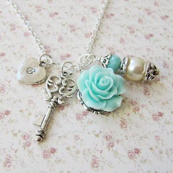 Personalized pool blue flower Necklace - bridesmaid necklace -  flower girl gift - blue weddings, Europe