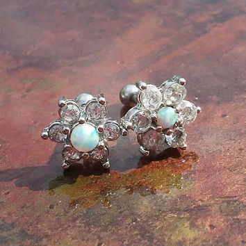 White Opal CZ Crystal flower stainless steel 16g, 16 gauge cartilage, tragus, helix barbell earring (pair)