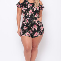 Plus Size Rose Print Romper - Black/Pink