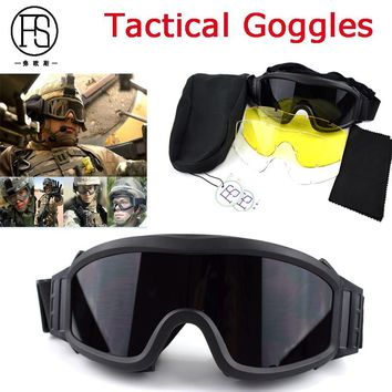 Hot ! Army Tactical Goggles Eyewear Outdoor Sport Gear Paintball Airsoft Game Safety Glasses Hunting Shooting Glasses