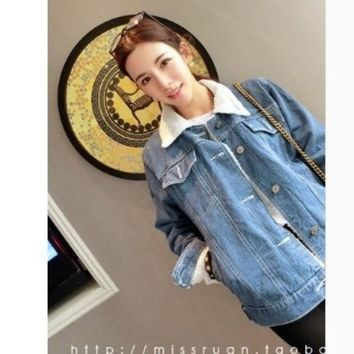 DCCKIX3 Fall and winter clothes new Women Korean lambs wool denim jeans warm cold thick cotton jacket