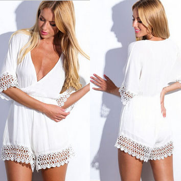 Sexy boho lace trimmed romper