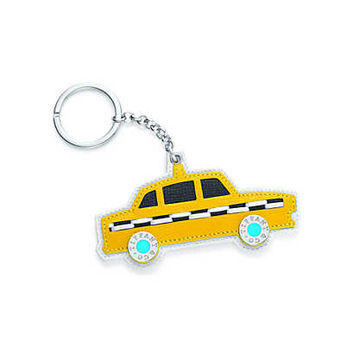 Tiffany & Co. - Taxi key ring in yellow, Tiffany Blue®, white and black grain leather.
