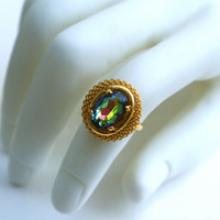 Iridescent Rhinestone Ring Oval Faceted Czech Glass Vitrail Medium Rainbow Adjustable l
