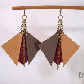 Leather earrings,Geometric earrings,Leather handmade jewelry,Geometric jewelry