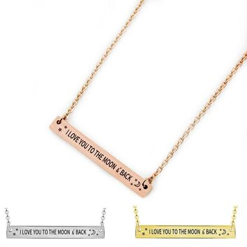 Charms Engraved I Love You To The Moon & Back Horizontal Long Bar Pendant Necklace Women Choker Stainless Steel Chain Collares