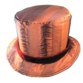 Circus Ringmaster Top Hat,  Rusty Velvet Band, Magician Magic Hat, Shiny Hipster Party Hat, Gift for Him, Mens Kentucky Derby Hat, Magick