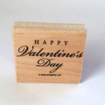 Happy Valentine's Day Stampin Up 2002 Cursive Wooden Embossing Scrapbooking Supplies Rubber Stamp New