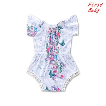 2017 Baby girls printed flower bodysuit summer childrens casual clothes summer cute infant soft clothing cool overalls 17F222