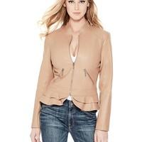 Kate Flirty Faux-Leather Jacket at Guess