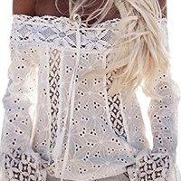 ECOWISH Women's Sexy Lace Crochet Off Shoulder Long Sleeve Casual Blouse Tops