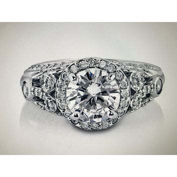 A Flawless Art Deco 1.1CT Round Cut Russian Lab Diamond Ring
