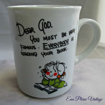 Dear God Kids Coffee Tea Cocoa Mug Cup Enesco Religious Collectible Reading Bible