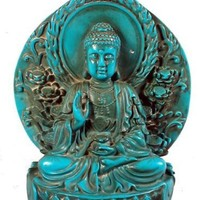 Sitting Smiling Lord of Love Guan Yin Quan Yin Chenrezip Antique Finishing Buddha Statue (Turquoise)