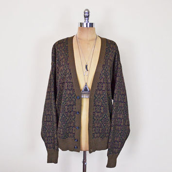 Vintage 80s 90s Brown Abstract Print Boyfriend Cardigan Sweater Jumper Grandpa Cardigan Slouchy Oversize Cardigan Grunge Hipster S M L XL