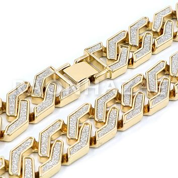 Iced Out 14K Gold Plated Glitter SandBlasted Curb Hex 18mm Cuban Chain