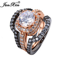 JUNXIN 3pcs White Zircon Ring Sets Black /Rose Gold Filled Fashion Jewelry Engagement Party Wedding Rings For Women