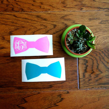 Bow Vinyl Personalized Monogram Decal Sticker - Bow tie Script Monogram - DIY - Great for car Window, laptop, cell phone, binder, mason jars