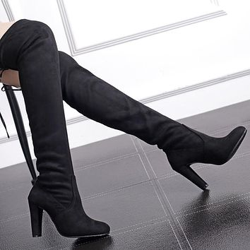 Sexy Suede Chunky Heel High Boots