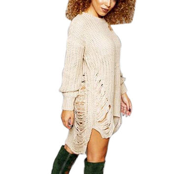 Hot 2016 Spring Female Ripped Out Sweater and Pullover Irregular Oversized Women Tricot Knitwear Sexy Dress Casual Vestido X0080
